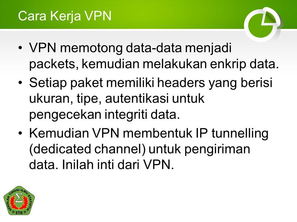Cara Kerja VPN •VPN memotong data-data menjadi packets, kemudian melakukan enkrip data. •Setiap paket memiliki headers yang berisi ukuran, tipe, auten