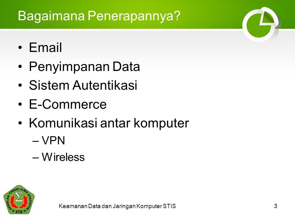 Keamanan Data dan Jaringan Komputer STIS3 Bagaimana Penerapannya? •Email •Penyimpanan Data •Sistem Autentikasi •E-Commerce •Komunikasi antar komputer