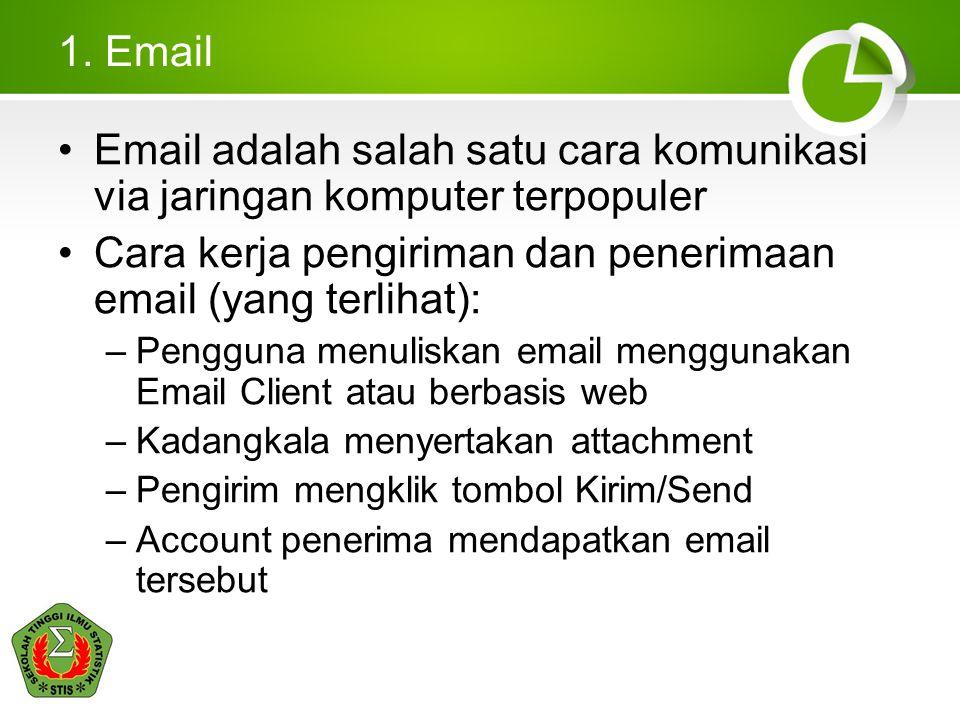 1. Email •Email adalah salah satu cara komunikasi via jaringan komputer terpopuler •Cara kerja pengiriman dan penerimaan email (yang terlihat): –Pengg