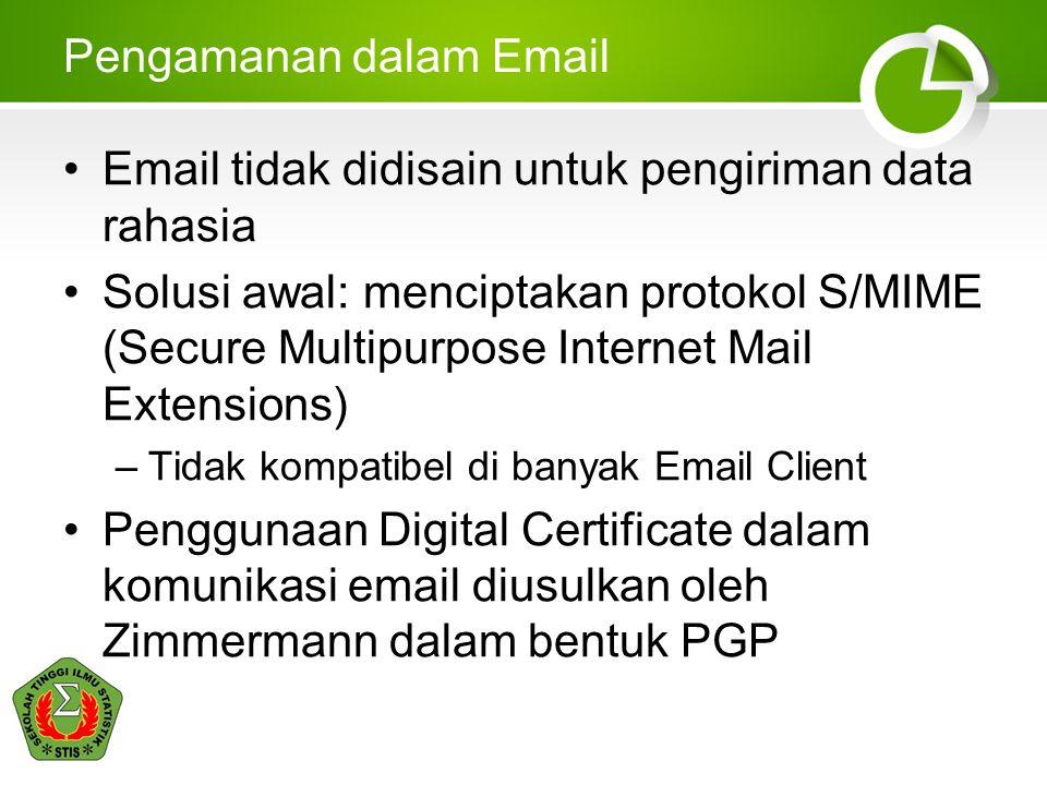 Pengamanan dalam Email •Email tidak didisain untuk pengiriman data rahasia •Solusi awal: menciptakan protokol S/MIME (Secure Multipurpose Internet Mai