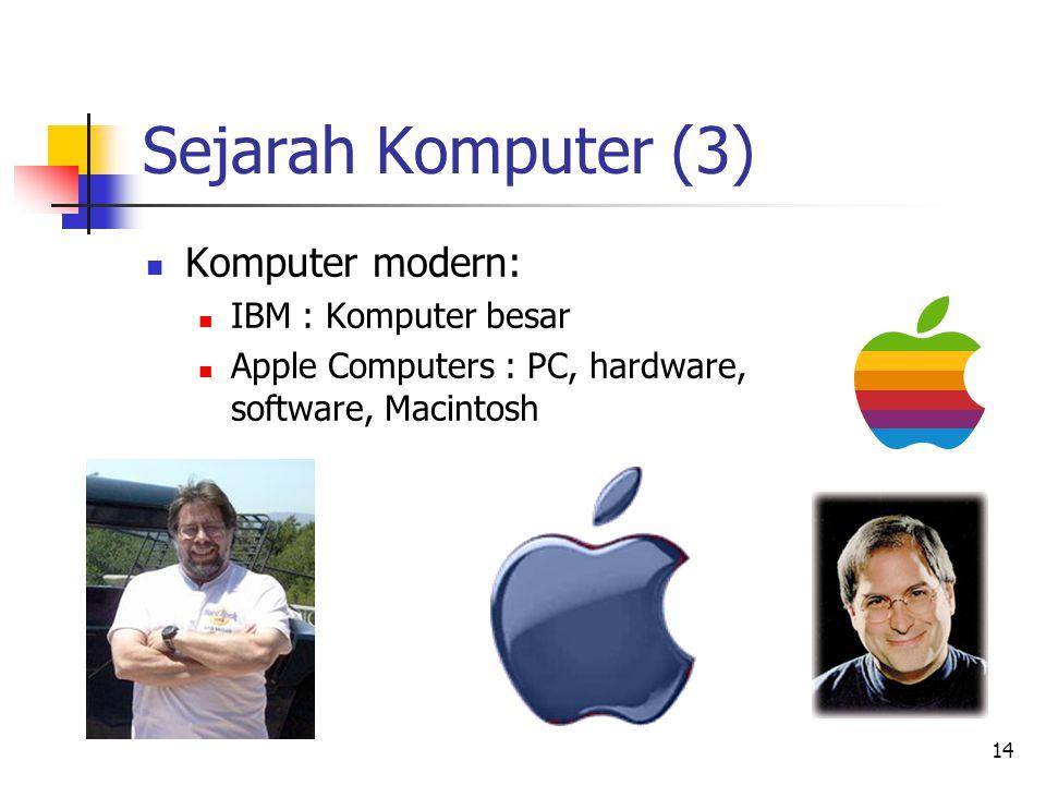 14 Sejarah Komputer (3)  Komputer modern:  IBM : Komputer besar  Apple Computers : PC, hardware, software, Macintosh