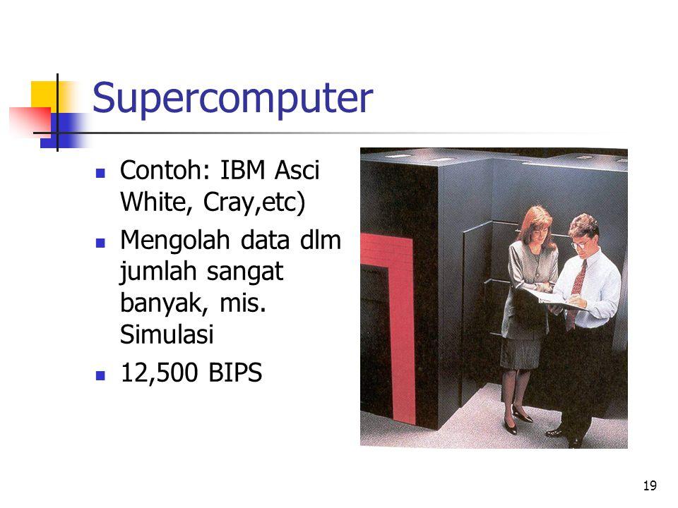 19 Supercomputer  Contoh: IBM Asci White, Cray,etc)  Mengolah data dlm jumlah sangat banyak, mis. Simulasi  12,500 BIPS
