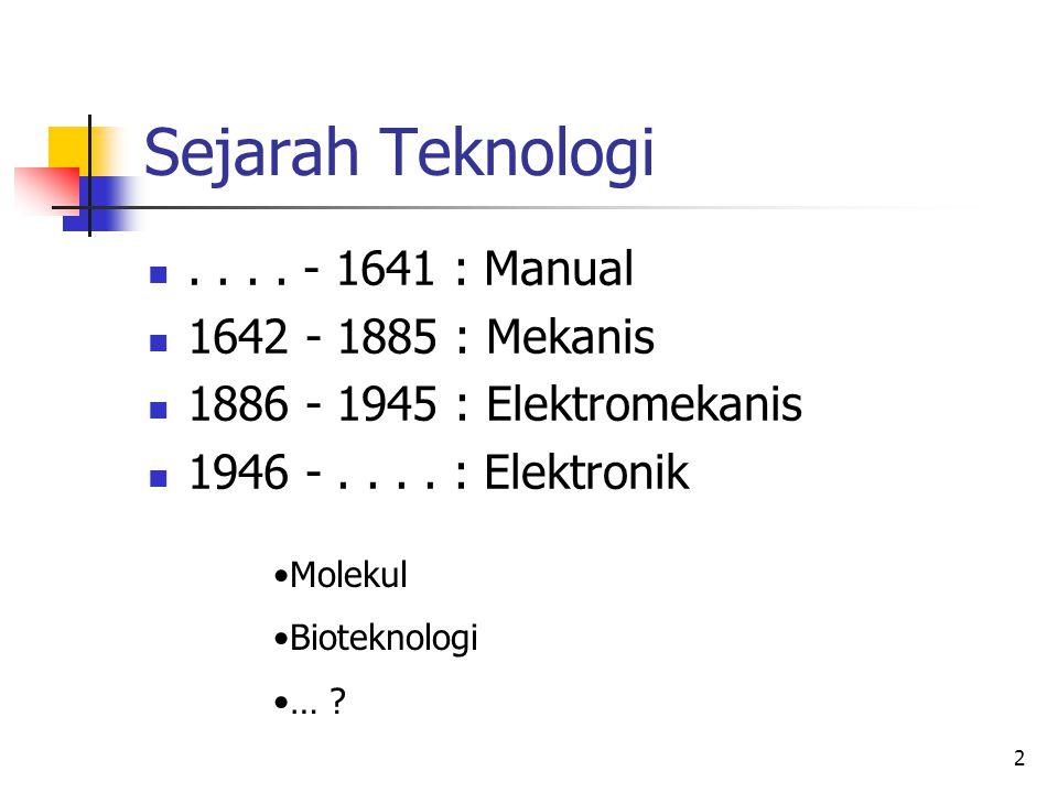2 Sejarah Teknologi .... - 1641 : Manual  1642 - 1885 : Mekanis  1886 - 1945 : Elektromekanis  1946 -.... : Elektronik •Molekul •Bioteknologi •… ?