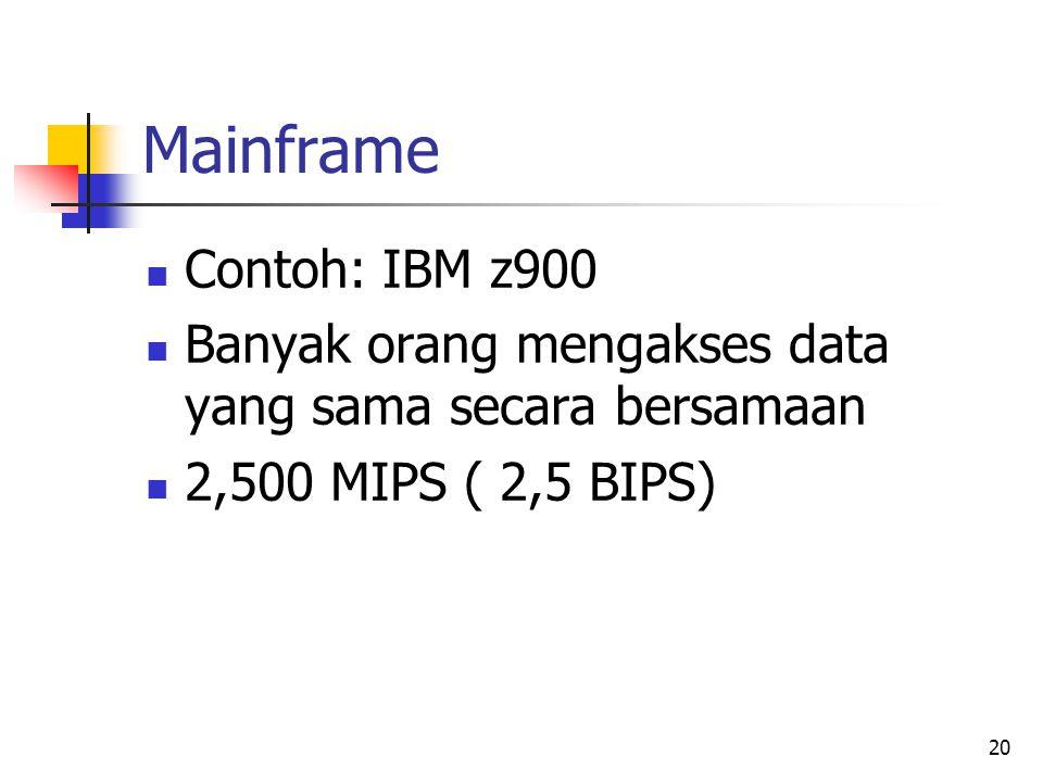 20 Mainframe  Contoh: IBM z900  Banyak orang mengakses data yang sama secara bersamaan  2,500 MIPS ( 2,5 BIPS)