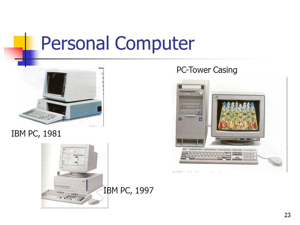 23 Personal Computer IBM PC, 1981 PC-Tower Casing IBM PC, 1997
