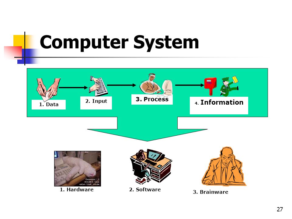 27 Computer System 1. Data 2. Input 3. Process 4. Information 1. Hardware2. Software 3. Brainware
