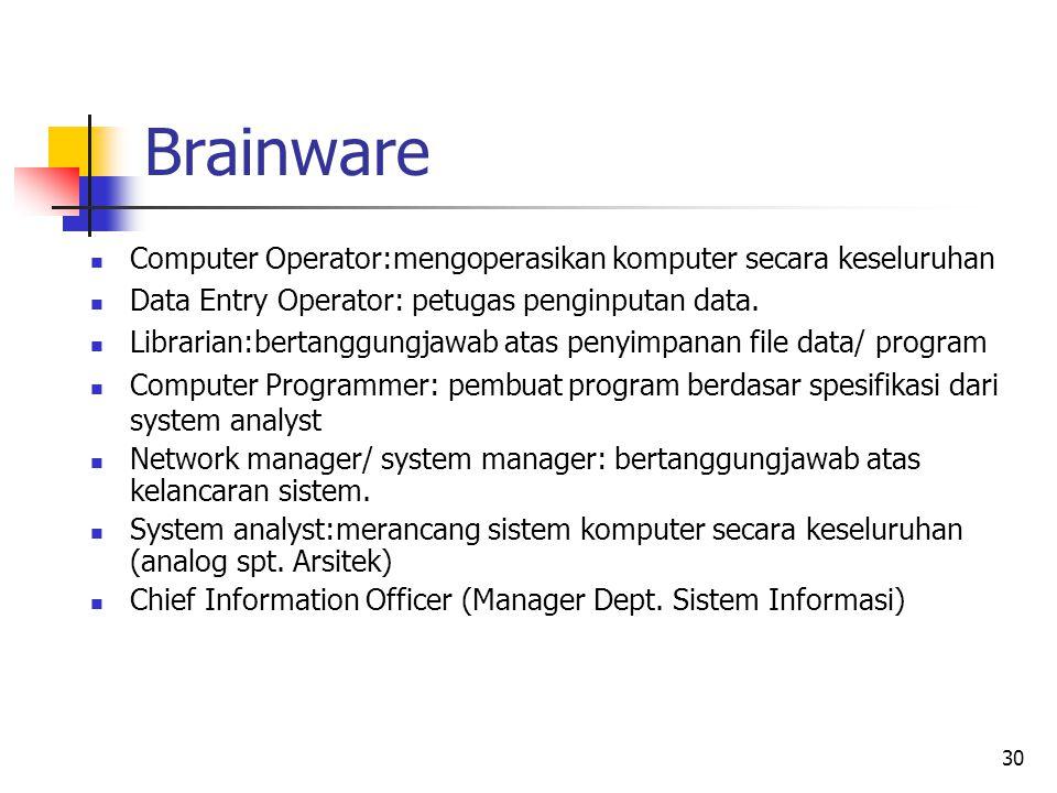30 Brainware  Computer Operator:mengoperasikan komputer secara keseluruhan  Data Entry Operator: petugas penginputan data.  Librarian:bertanggungja