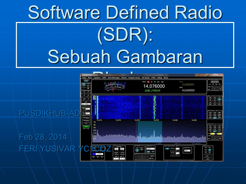 Software Defined Radio (SDR): Sebuah Gambaran Ringkas PUSDIKHUB-AD Feb 28, 2014 FERI YUSIVAR YC1COZ