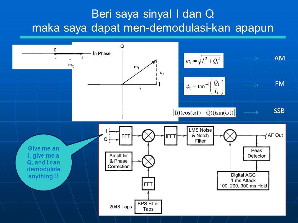 AM FM SSB Beri saya sinyal I dan Q maka saya dapat men-demodulasi-kan apapun Give me an I, give me a Q, and I can demodulate anything!!!
