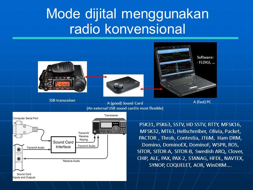 Mode dijital menggunakan radio konvensional A (good) Sound Card (An external USB sound card is most flexible) A (fast) PC SSB transceiver Software: - FLDIGI, … PSK31, PSK63, SSTV, HD SSTV, RTTY, MFSK16, MFSK32, MT63, Hellschreiber, Olivia, Packet, PACTOR, Throb, Contestia, JT6M, Ham DRM, Domino, DominoEX, DominoF, WSPR, ROS, SITOR, SITOR-A, SITOR-B, Swedish ARQ, Clover, CHIP, ALE, PAX, PAX-2, STANAG, HFDL, NAVTEX, SYNOP, COQUELET, AOR, WinDRM….