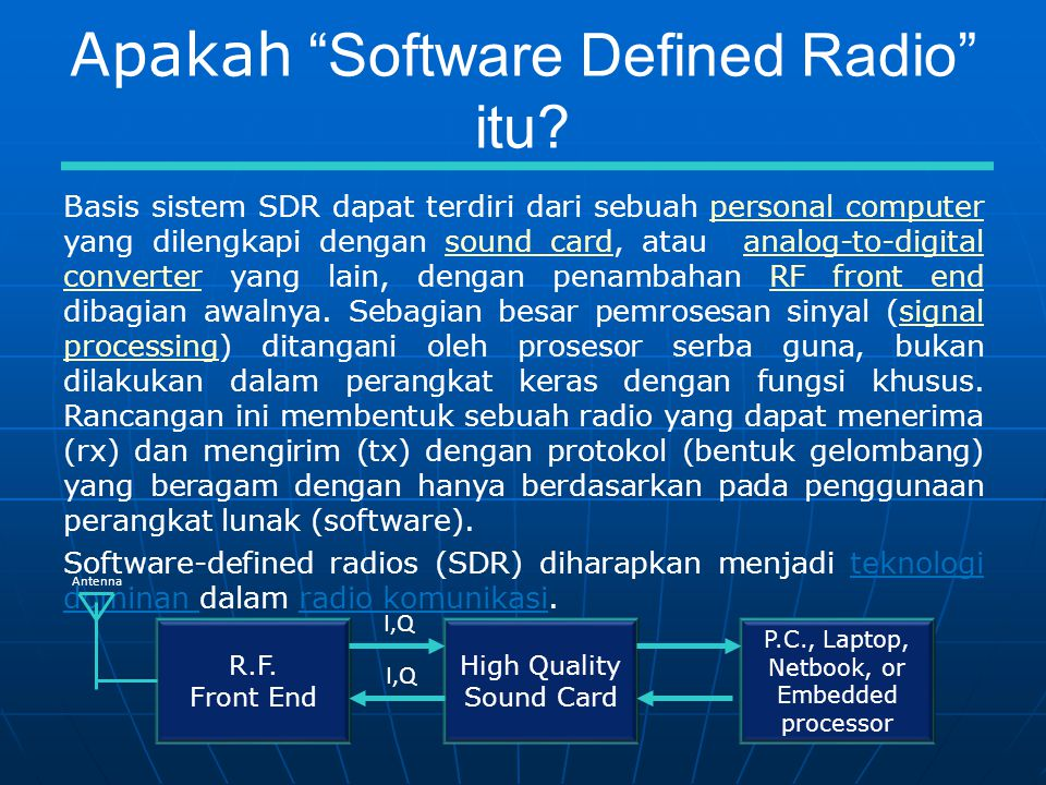 Mode Dijital menggunakan SDR Perangkat lunak SDR dapat dihubungkan dengan perangkat lunak dijital mode menggunakan antarmuka internal (virtual) untuk menghubungkan audio IQ dan kontrol radio secara virtual.