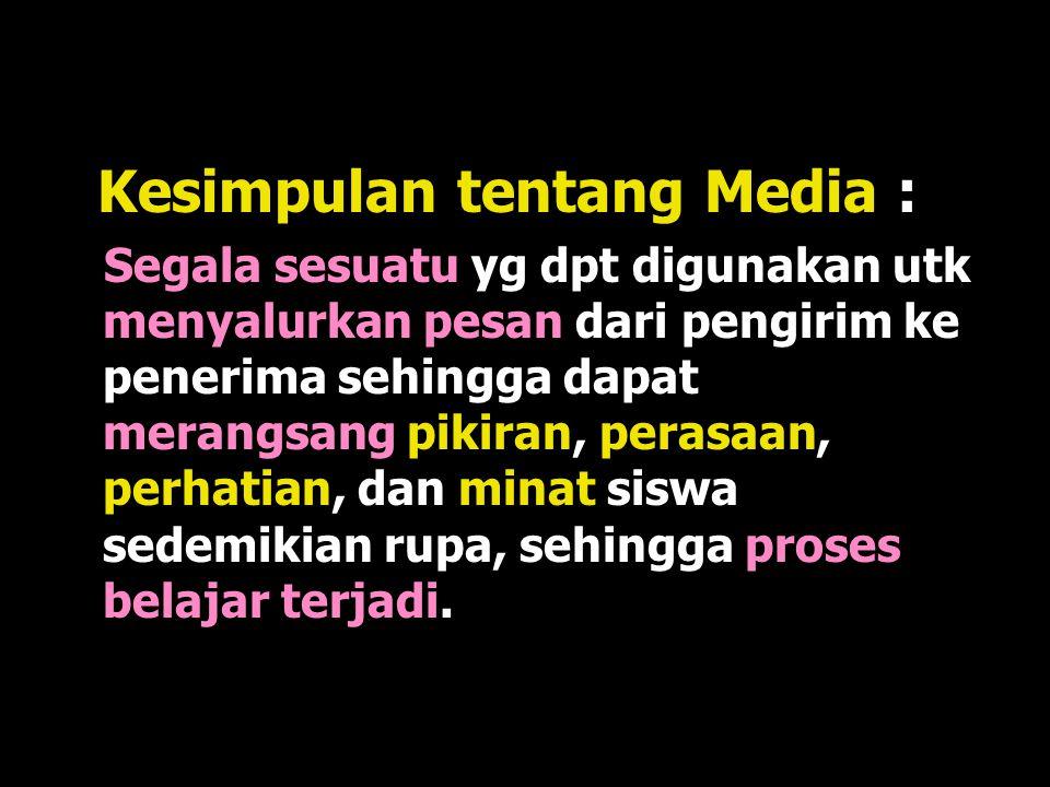  NEA (AS) : media adalah bentuk- bentuk komunikasi baik tercetak maupun Audio Visual serta peralatannya.  Media hendaknya dapat dimanipulasi, dapat