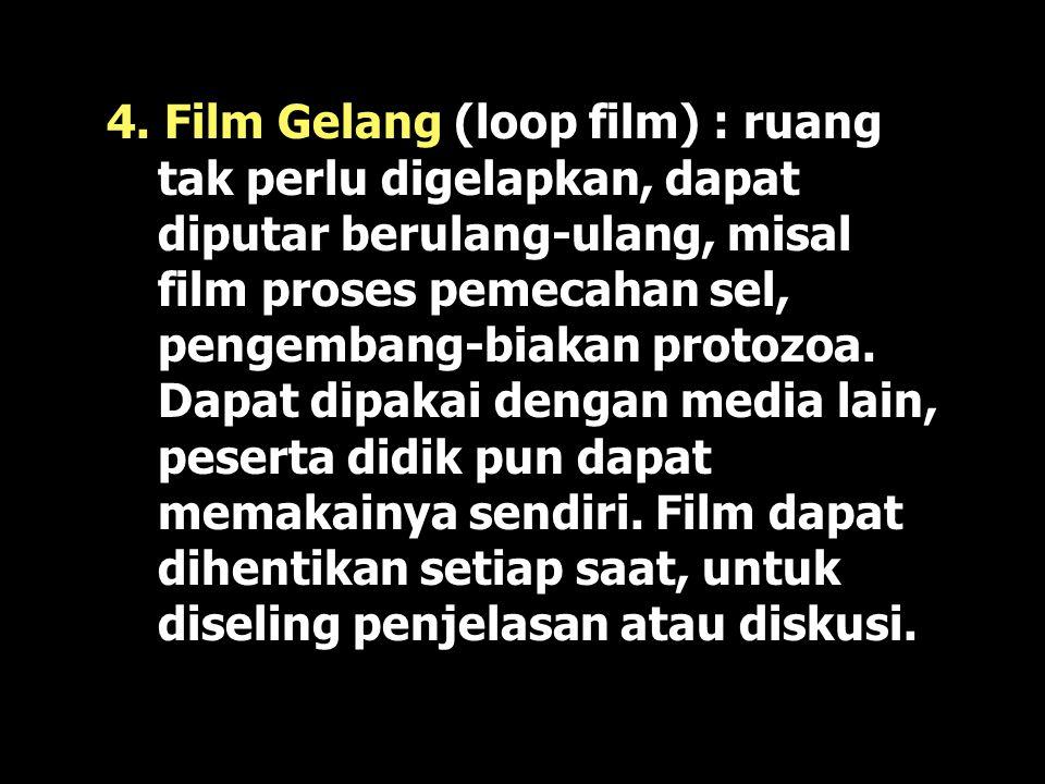 3. Film Gerak : Dalam film keteram- pilan membaca dan penguasaan bahasa yang kurang bisa diatasi. Bagus utk menerangkan suatu proses, dapat menampilka