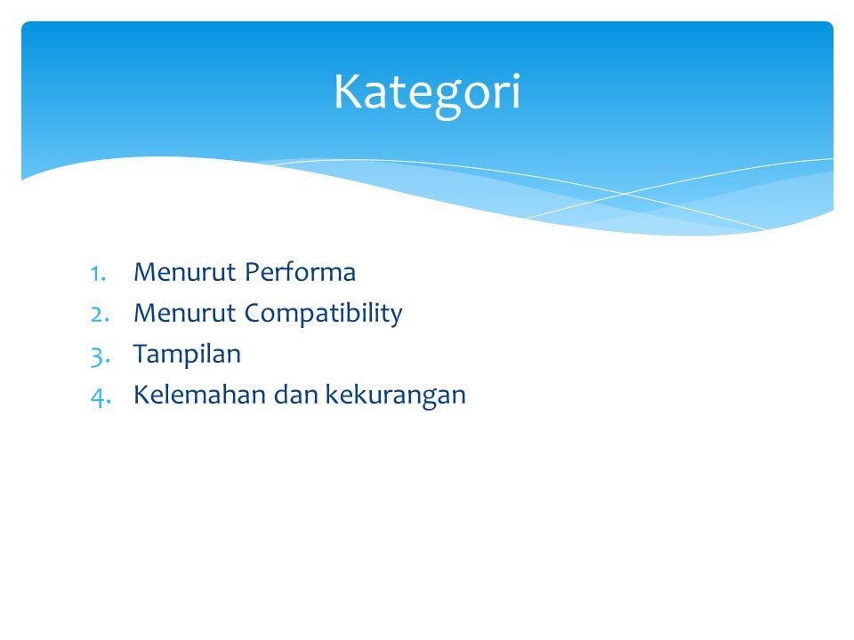 1.Menurut Performa 2.Menurut Compatibility 3.Tampilan 4.Kelemahan dan kekurangan Kategori