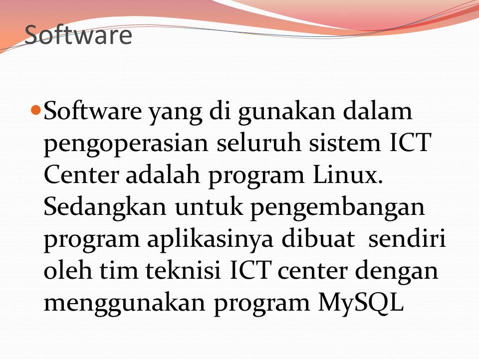 Software  Software yang di gunakan dalam pengoperasian seluruh sistem ICT Center adalah program Linux.