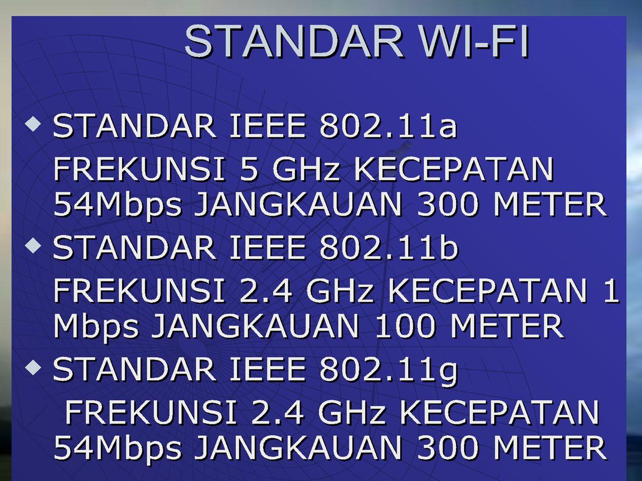 Wi-Fi (atau Wi-fi, WiFi, Wifi, wifi) merupakan kependekan dari Wireless Fidelity, memiliki pengertian yaitu sekumpulan standar yang digunakan untuk Jaringan Lokal Nirkabel (Wireless Local Area Networks - WLAN) yang didasari pada spesifikasi IEEE 802.11.