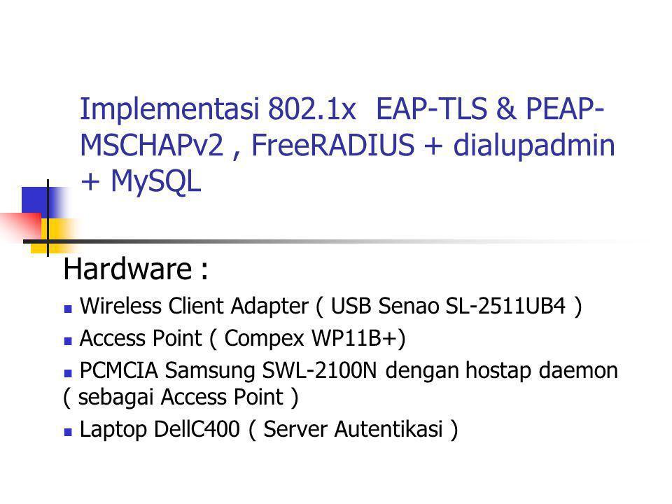 Setting Supplicant WinXP SP2 menggunakan 802.1x EAP-TLS  Untuk menggunakan EAP-TLS, Supplicant Windows XP membutuhkan sertifikat public (root.der) dan sertifikat private client ( cert- clt.p12 )  Sedangkan Server authentikasi menggunakan private key, sertifikat public dan private server ( cert-srv.pem ) dan CA ( cacert.pem )