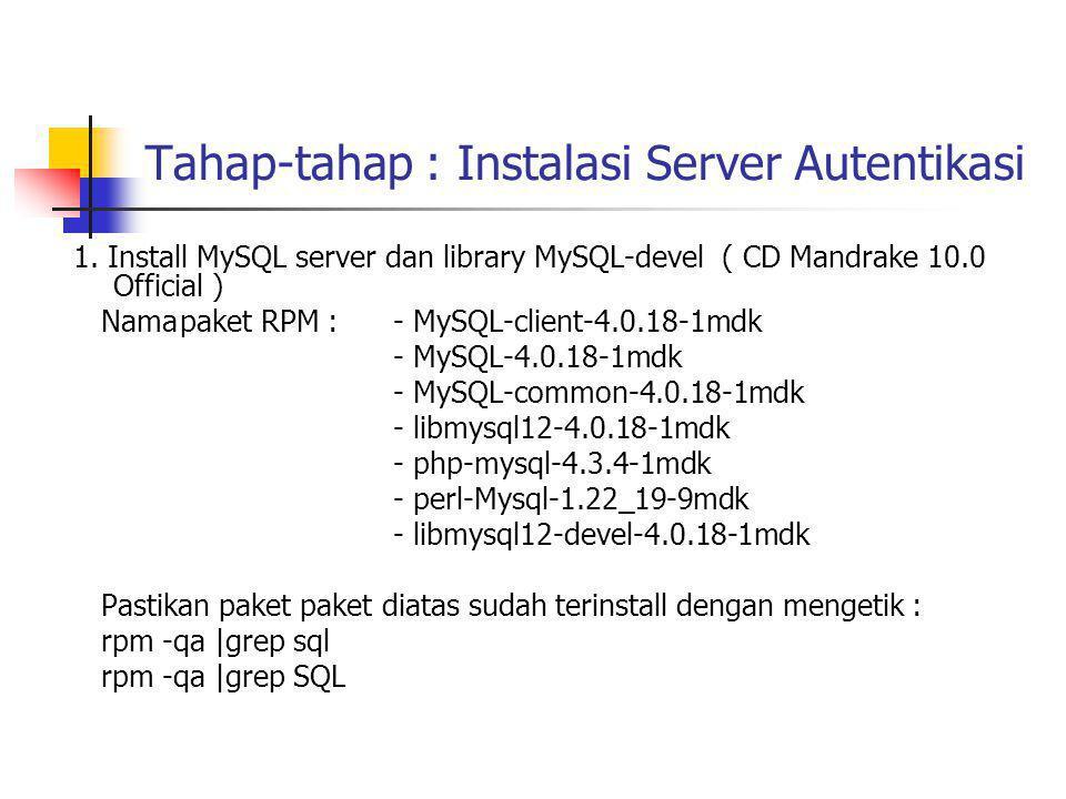 Tahap-tahap : Instalasi Server Autentikasi 2.