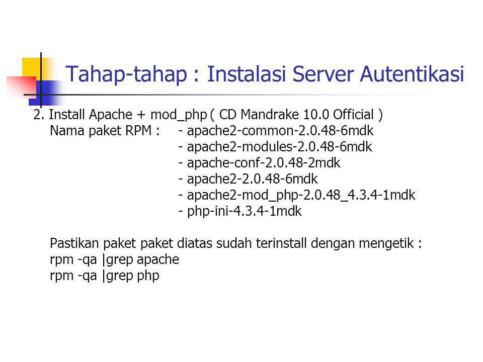 eap.conf ( untuk EAP-TLS ) eap { default_eap_type = tls timer_expire = 60 ignore_unknown_eap_types = no tls { private_key_password = rahasiaeuy private_key_file = ${raddbdir}/certs/cert-srv.pem certificate_file = ${raddbdir}/certs/cert-srv.pem # Trusted Root CA list CA_file = ${raddbdir}/certs/demoCA/cacert.pem dh_file = ${raddbdir}/certs/dh random_file = ${raddbdir}/certs/random }