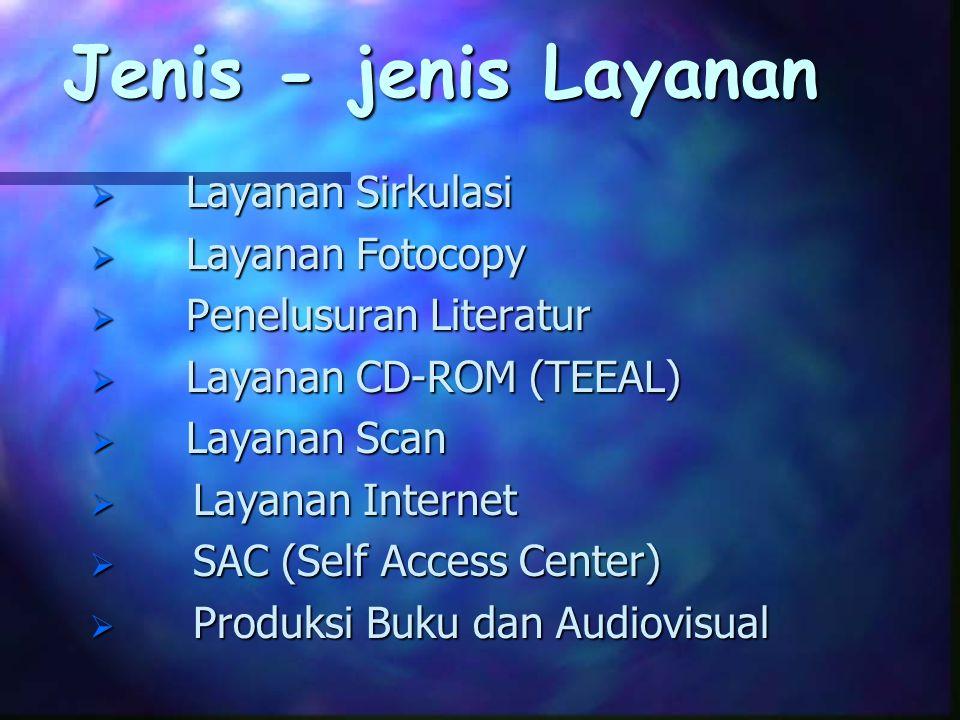Jenis - jenis Layanan  Layanan Sirkulasi  Layanan Fotocopy  Penelusuran Literatur  Layanan CD-ROM (TEEAL)  Layanan Scan  Layanan Internet  SAC