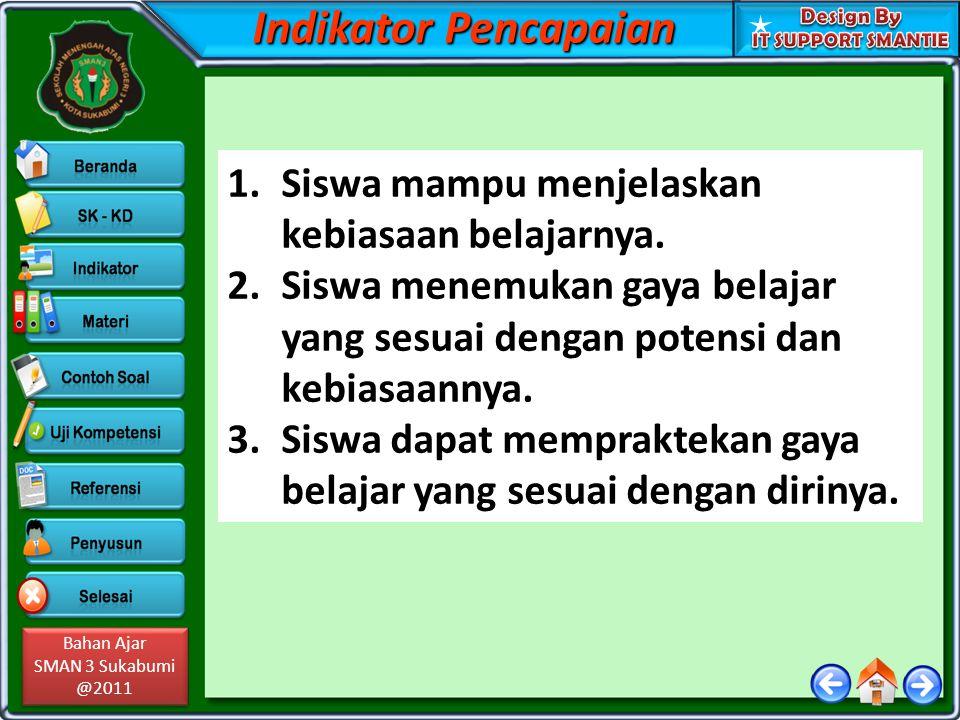 Bahan Ajar SMAN 3 Sukabumi @2011 Bahan Ajar SMAN 3 Sukabumi @2011 Indikator Pencapaian 1.Siswa mampu menjelaskan kebiasaan belajarnya. 2.Siswa menemuk
