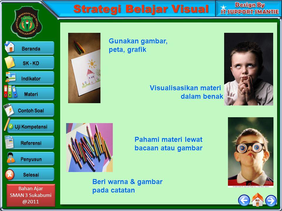 Bahan Ajar SMAN 3 Sukabumi @2011 Bahan Ajar SMAN 3 Sukabumi @2011 Strategi Belajar Visual Gunakan gambar, peta, grafik Visualisasikan materi dalam ben