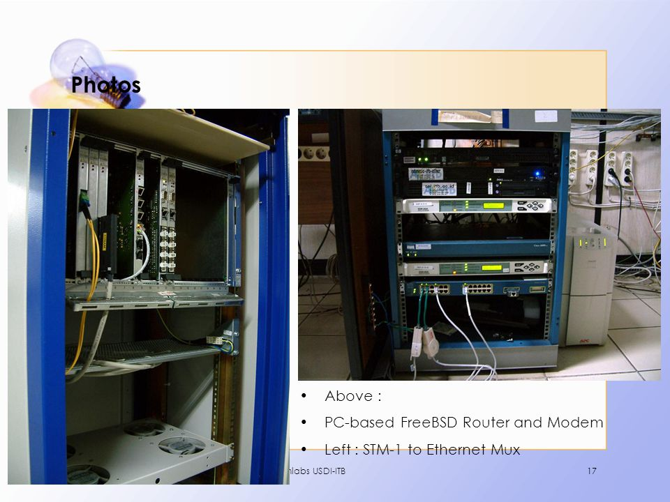 Comlabs USDI-ITB17 Photos •Above : •PC-based FreeBSD Router and Modem •Left : STM-1 to Ethernet Mux