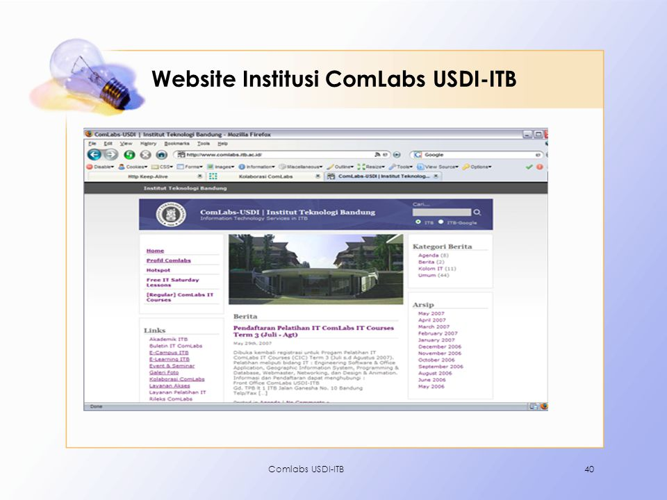 Comlabs USDI-ITB40 Website Institusi ComLabs USDI-ITB