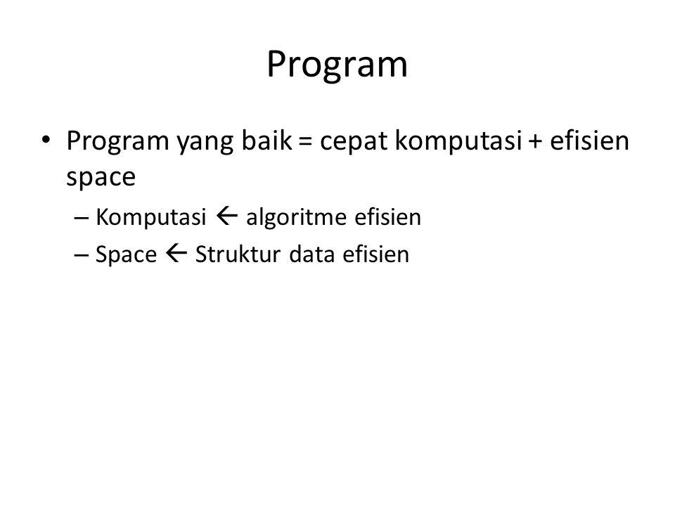 Program • Program yang baik = cepat komputasi + efisien space – Komputasi  algoritme efisien – Space  Struktur data efisien
