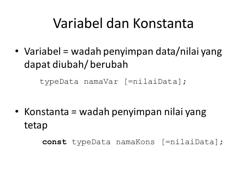 Variabel dan Konstanta • Variabel = wadah penyimpan data/nilai yang dapat diubah/ berubah typeData namaVar [=nilaiData]; • Konstanta = wadah penyimpan