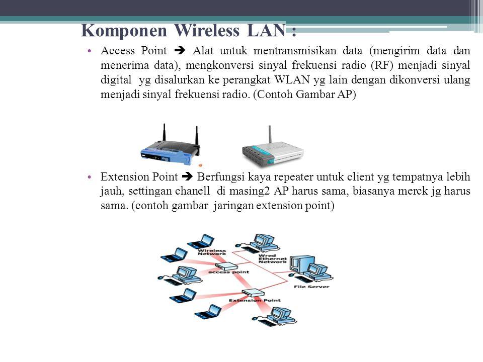 Komponen Wireless LAN : • Access Point  Alat untuk mentransmisikan data (mengirim data dan menerima data), mengkonversi sinyal frekuensi radio (RF) menjadi sinyal digital yg disalurkan ke perangkat WLAN yg lain dengan dikonversi ulang menjadi sinyal frekuensi radio.