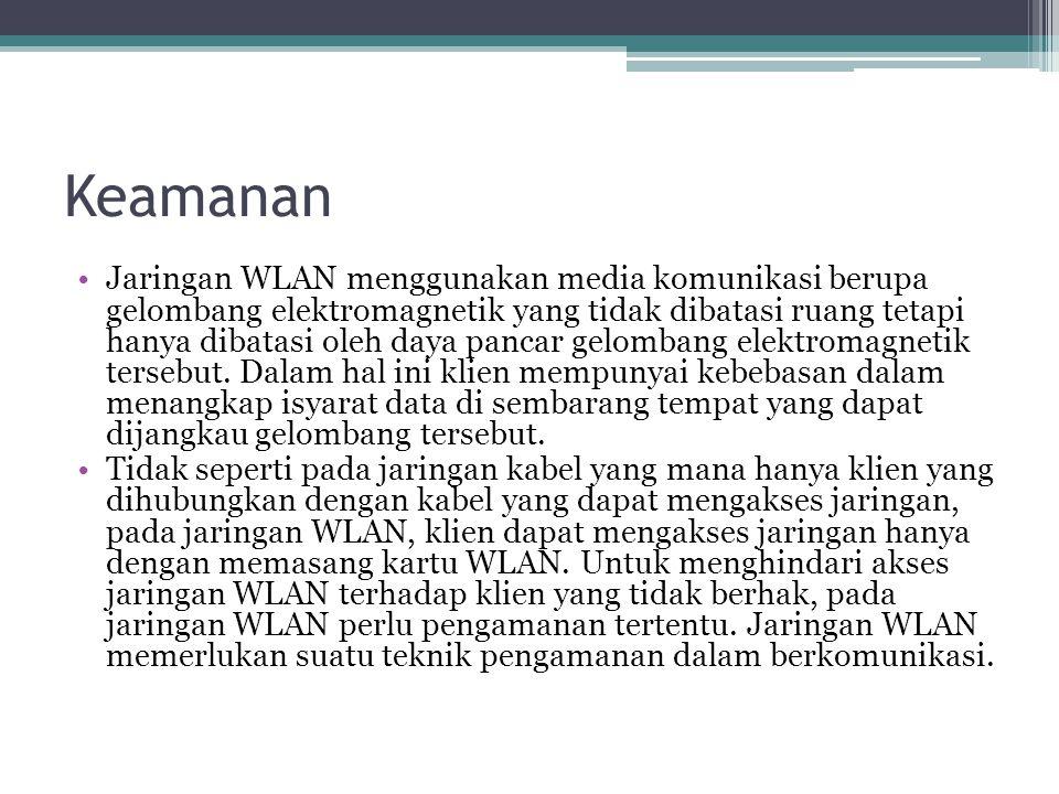Keamanan •Jaringan WLAN menggunakan media komunikasi berupa gelombang elektromagnetik yang tidak dibatasi ruang tetapi hanya dibatasi oleh daya pancar gelombang elektromagnetik tersebut.