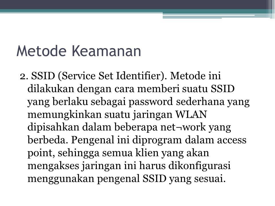 Metode Keamanan 2.SSID (Service Set Identifier).