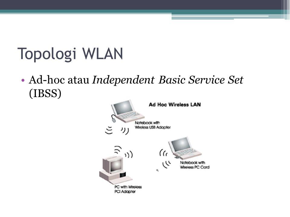 Topologi WLAN •Ad-hoc atau Independent Basic Service Set (IBSS)