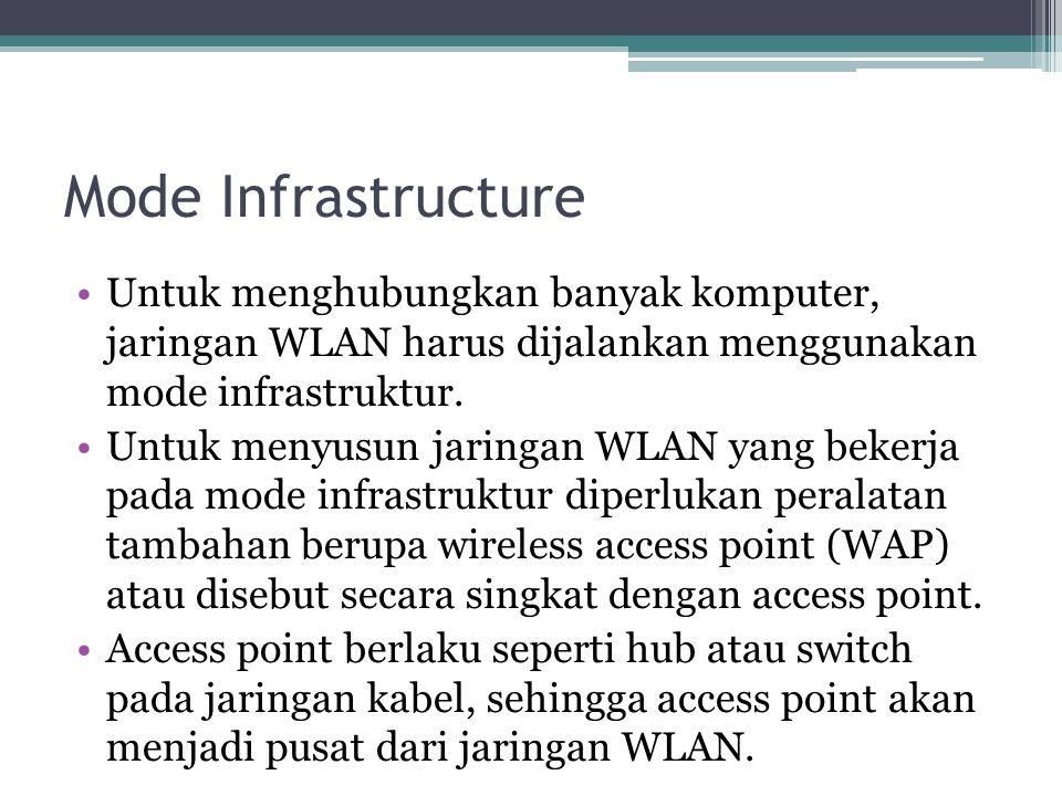 Mode Infrastructure •Untuk menghubungkan banyak komputer, jaringan WLAN harus dijalankan menggunakan mode infrastruktur.
