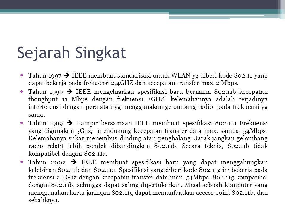 Sejarah Singkat  Tahun 1997  IEEE membuat standarisasi untuk WLAN yg diberi kode 802.11 yang dapat bekerja pada frekuensi 2,4GHZ dan kecepatan transfer max.