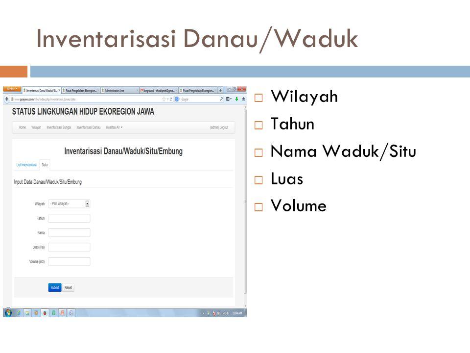 Inventarisasi Danau/Waduk  Wilayah  Tahun  Nama Waduk/Situ  Luas  Volume