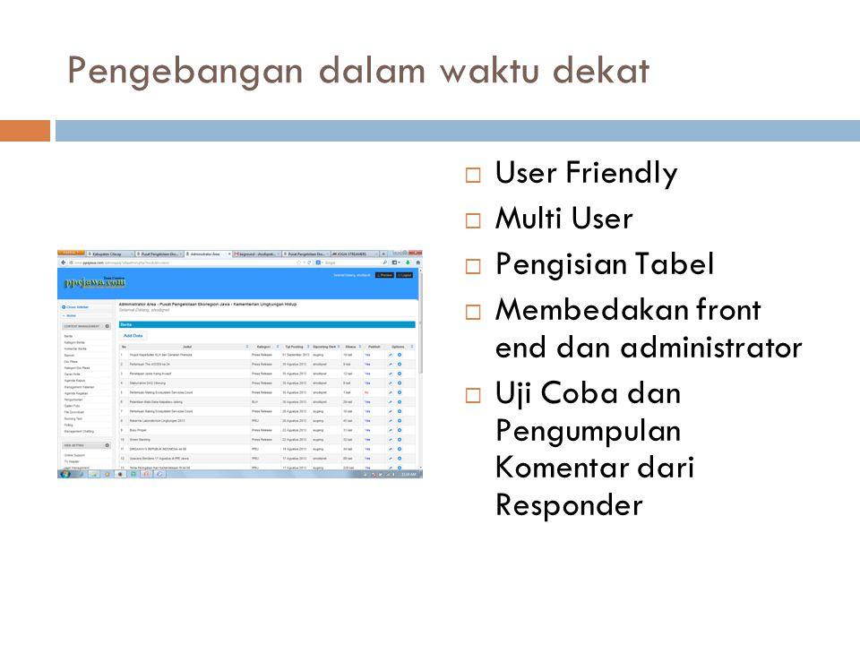 Pengebangan dalam waktu dekat  User Friendly  Multi User  Pengisian Tabel  Membedakan front end dan administrator  Uji Coba dan Pengumpulan Komentar dari Responder