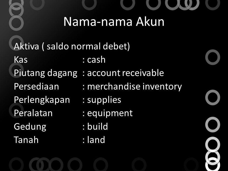 Nama-nama Akun Aktiva ( saldo normal debet) Kas: cash Piutang dagang: account receivable Persediaan: merchandise inventory Perlengkapan: supplies Pera