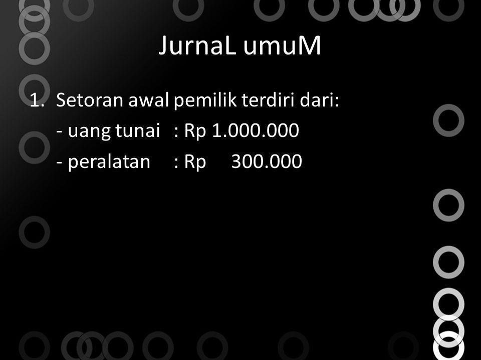 JurnaL umuM 1.Setoran awal pemilik terdiri dari: - uang tunai: Rp 1.000.000 - peralatan: Rp 300.000