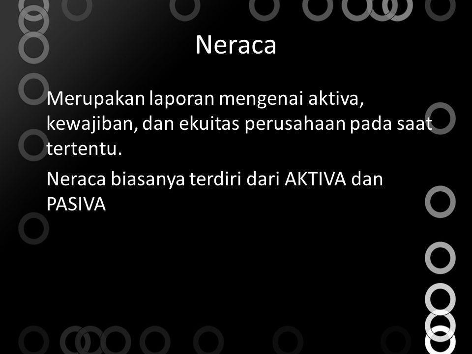 Neraca Merupakan laporan mengenai aktiva, kewajiban, dan ekuitas perusahaan pada saat tertentu. Neraca biasanya terdiri dari AKTIVA dan PASIVA
