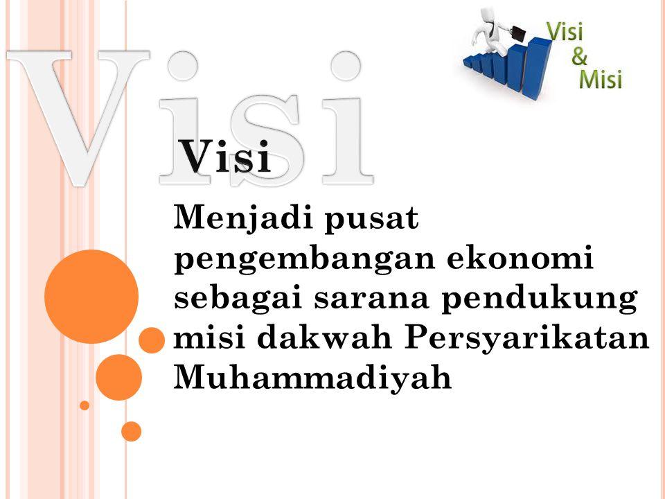 Menjadi pusat pengembangan ekonomi sebagai sarana pendukung misi dakwah Persyarikatan Muhammadiyah