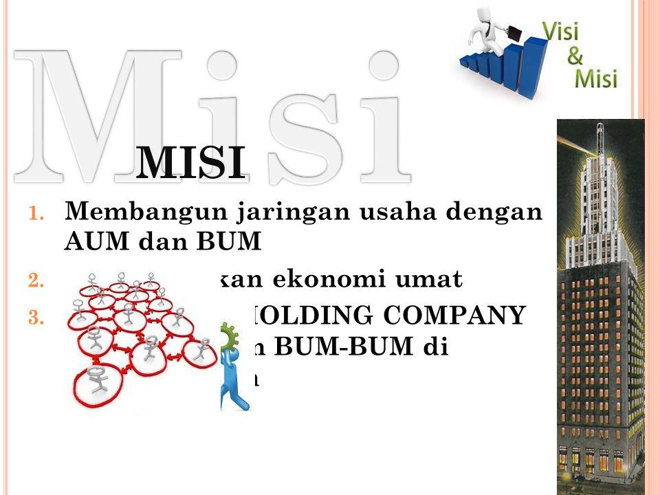 MISI 1.Membangun jaringan usaha dengan AUM dan BUM 2.