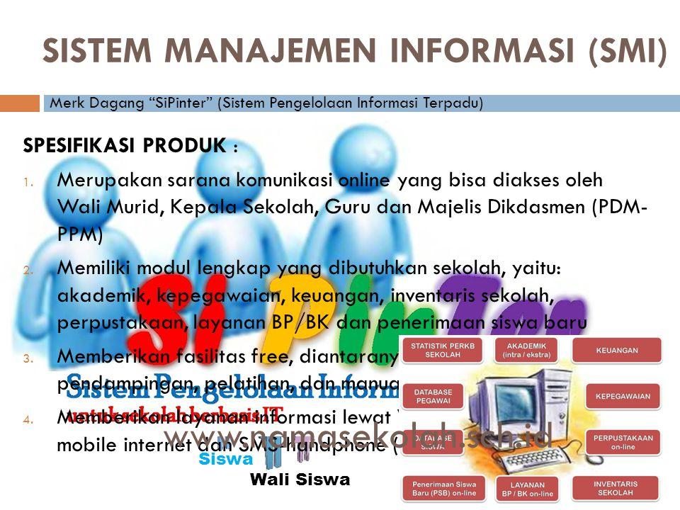 Admin Sekolah Wali Siswa Kepala Sekolah Siswa Pegawai: • Wakasek • Guru • Bendahara • TU Majelis Dikdasmen PDM--PPM SISTEM MANAJEMEN INFORMASI (SMI) SPESIFIKASI PRODUK : 1.