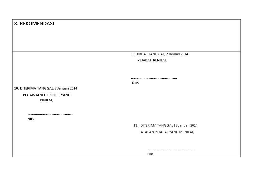 8. REKOMENDASI 9. DIBUAT TANGGAL, 2 Januari 2014 PEJABAT PENILAI, …………………………………………. NIP. 10. DITERIMA TANGGAL, 7 Januari 2014 PEGAWAI NEGERI SIPIL YAN