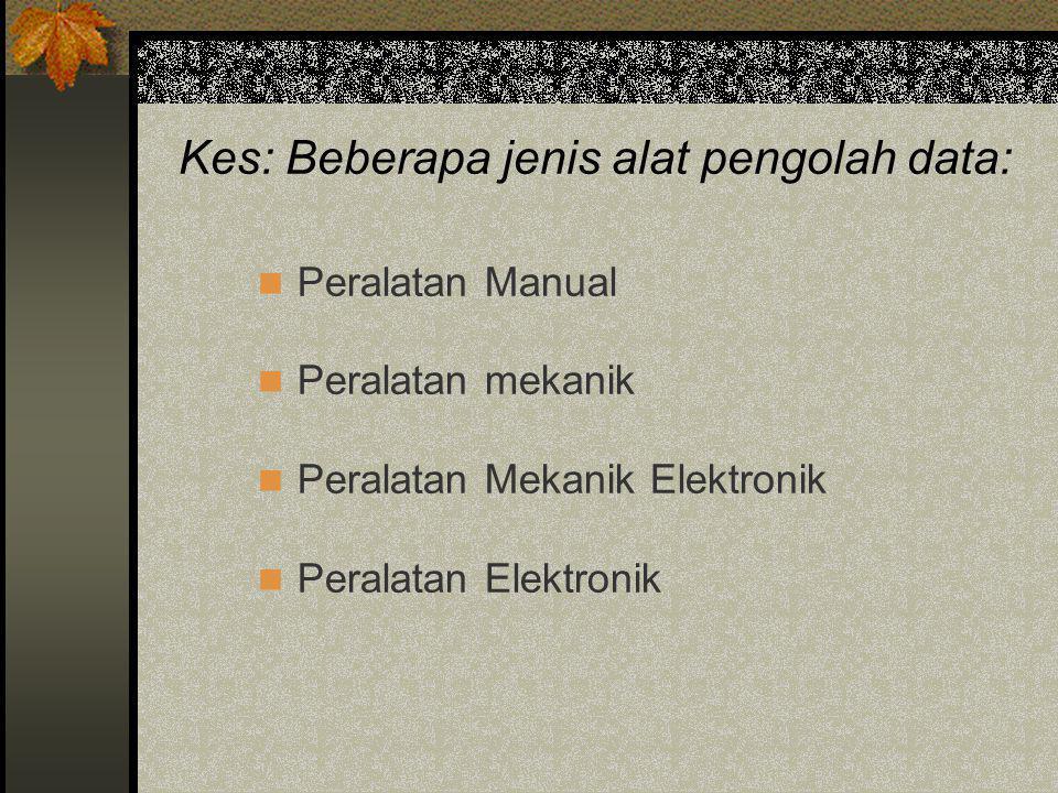 Kes: Beberapa jenis alat pengolah data:  Peralatan Manual  Peralatan mekanik  Peralatan Mekanik Elektronik  Peralatan Elektronik