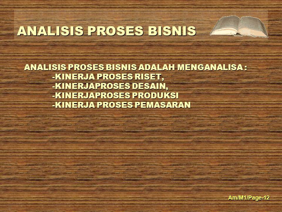 ANALISIS PROSES BISNIS Am/M1/Page-12 ANALISIS PROSES BISNIS ADALAH MENGANALISA : -KINERJA PROSES RISET, -KINERJAPROSES DESAIN, -KINERJAPROSES PRODUKSI -KINERJA PROSES PEMASARAN