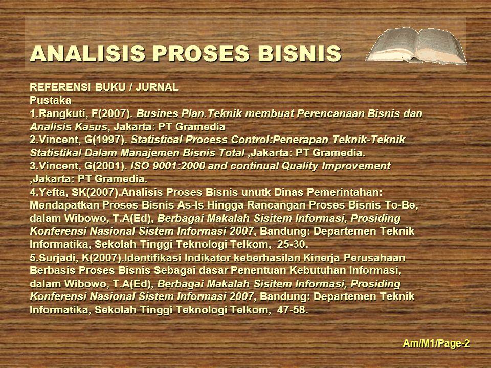 ANALISIS PROSES BISNIS Am/M1/Page-2 REFERENSI BUKU / JURNAL Pustaka 1.Rangkuti, F(2007).
