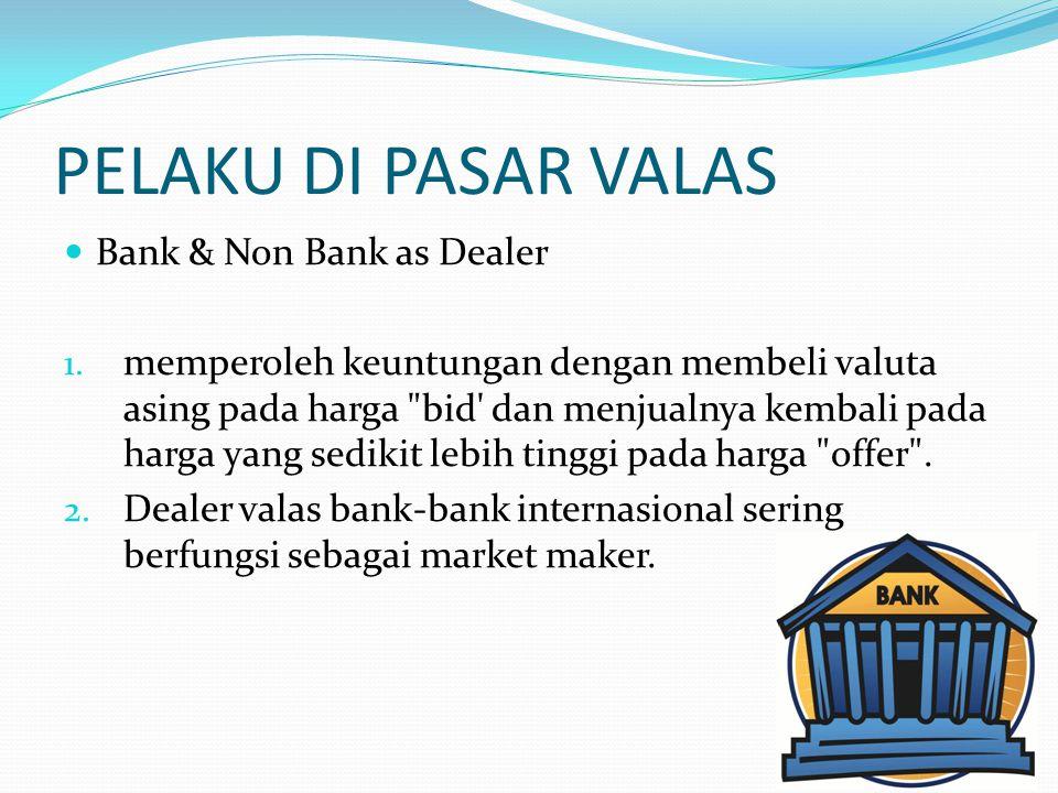 PELAKU DI PASAR VALAS  Bank & Non Bank as Dealer 1. memperoleh keuntungan dengan membeli valuta asing pada harga