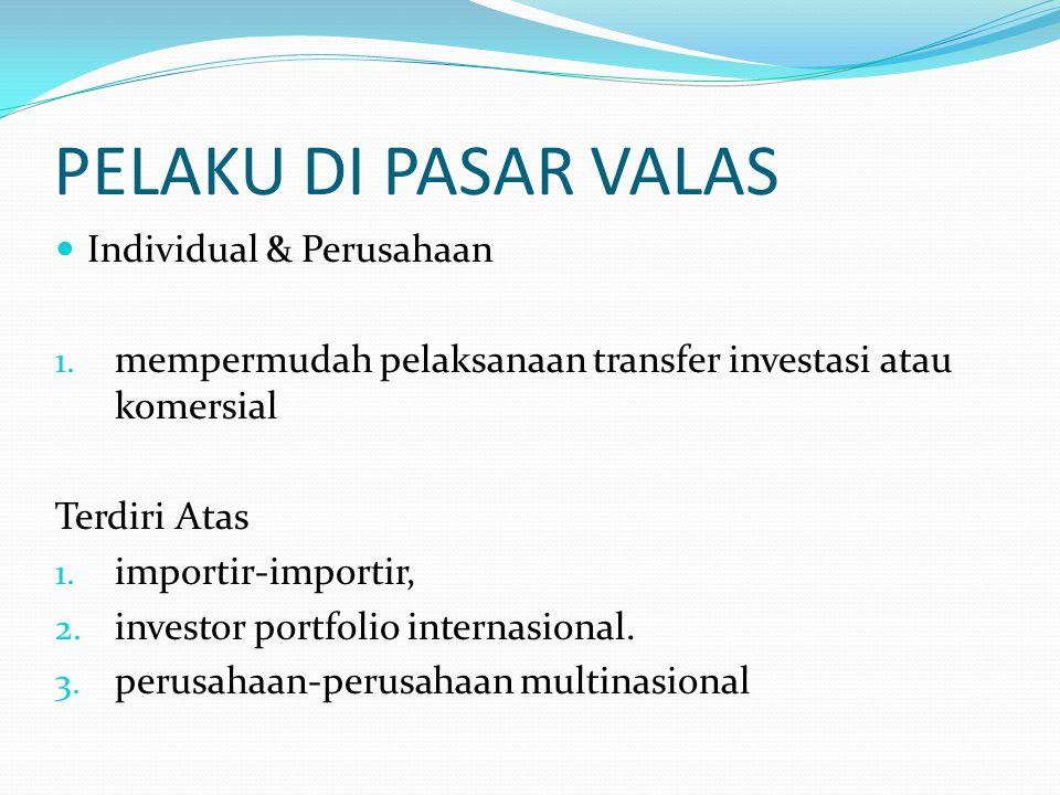 PELAKU DI PASAR VALAS  Individual & Perusahaan 1. mempermudah pelaksanaan transfer investasi atau komersial Terdiri Atas 1. importir-importir, 2. inv